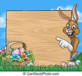 Easter Bunny Sign Background