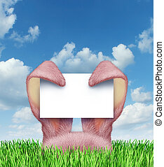 Easter Bunny Sign - Easter bunny sign with pink rabbit ears...