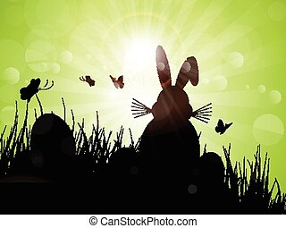 easter bunny silhouette 1103
