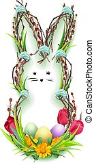 Easter bunny silhouette wreath of twig, green grass and flower