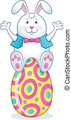 Easter Bunny Sitting On Easter Egg