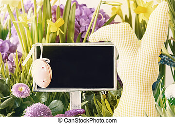 Easter Bunny, Spring Flowers, Copy Space