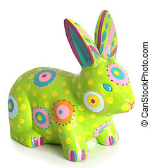 Easter bunny - Hand painted easter bunny ornament, isolated...