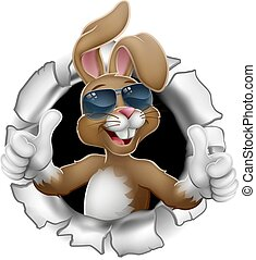Easter Bunny Thumbs Up Cool Rabbit in Sunglasses