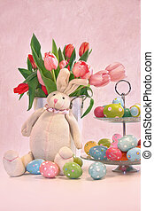 Easter bunny tulips and eggs