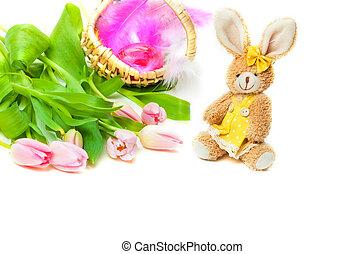 Easter Bunny, tulips, Easter Basket
