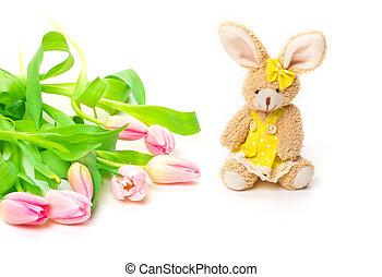 Easter Bunny, tulips