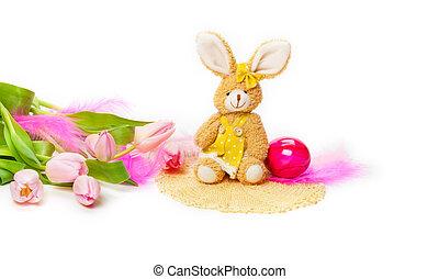 Easter Bunny, tulips, Easter Egg