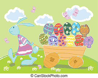 Easter bunny - Easter illustration with rabbit pulling...