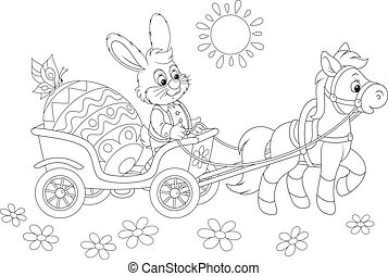 Easter bunny - A small pony pulling a carriage with a...