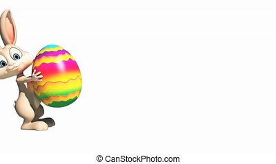 Happy Easter bunny walking with color egg