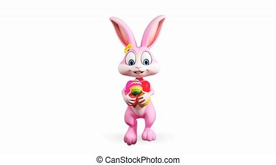 Easter bunny walking with eggs - Happy Easter pink bunny...