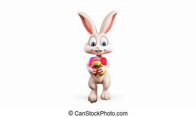 Easter Bunny walking with eggs - Happy Easter gray bunny...