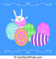 Easter Bunny Waving From Behind Rows of Easter Eggs