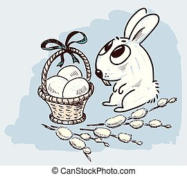 Easter bunny with a basket