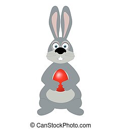 Easter bunny with an egg in its paws