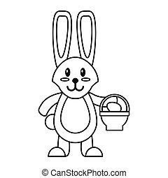 easter bunny with basket egg thin line