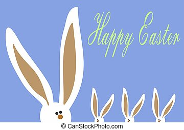 Easter Bunny with big ears. Easter card.