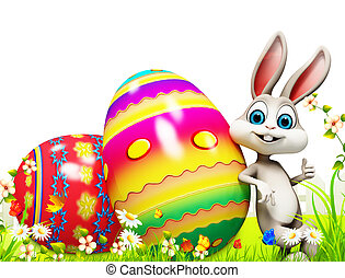 Easter bunny with big eggs - White bunny with eggs basket
