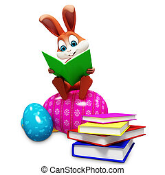 Easter bunny with books and eggs - Brown bunny is sitting on...