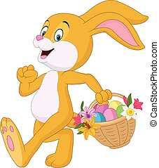 Easter bunny with bucket of eggs - Vector illustration of...
