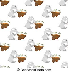 Easter bunny with carrots seamless pattern