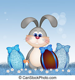 Easter bunny with chocolate eggs - illustration of Easter...