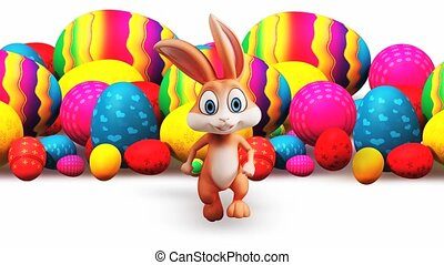 Brown bunny is running with colorful eggs