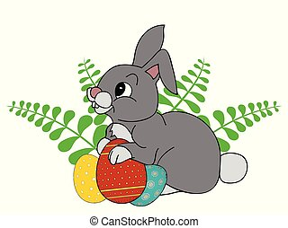 Easter bunny with decorated eggs