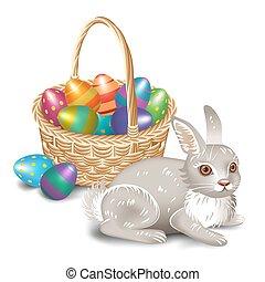 Easter bunny with Easter basket.Vector illustration.