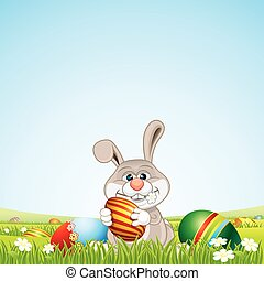 Bunny with Easter Eggs on Scenic Landscape