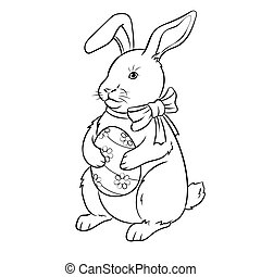Easter bunny with egg coloring book vector