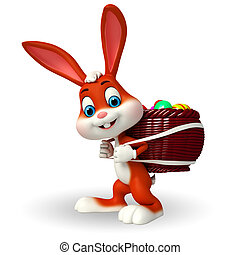 Easter Bunny with eggs basket - 3d rendered illustration of...