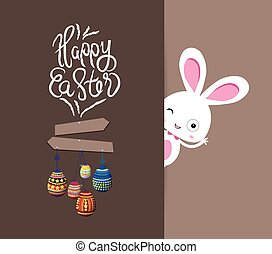Easter bunny with eggs colorful card