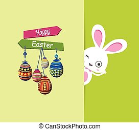 Easter bunny with eggs colorful