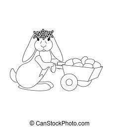Easter bunny with eggs outline