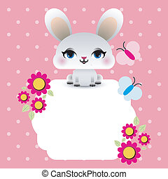 Easter bunny with floral frame
