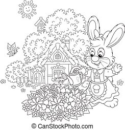 Easter Bunny with flowers - Vector illustration of a small...