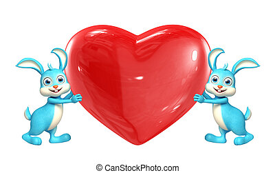 Easter bunny with heart pose