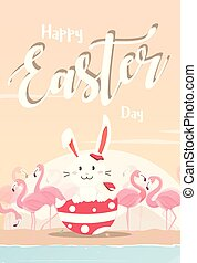 Easter bunny with pink flamingo.