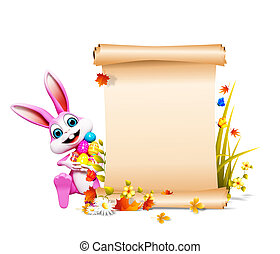 Easter bunny with sign - Pink bunny holding eggs with sign