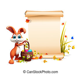 Easter bunny with sign - Brown bunny with eggs basket and...