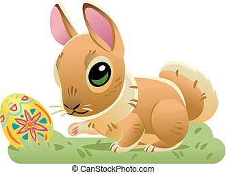 Easter bunny with the egg on the grass. Vector cartoon illustration isolated on white background. Cute rabbit character for the holiday design and cards.