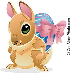 Easter bunny with the egg. Vector cartoon illustration isolated on white background. Cute rabbit character for the holiday design and cards.