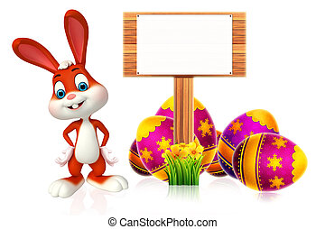 Easter Bunny with wooden sign - 3d rendered illustration of...