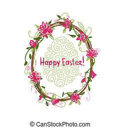 easter!, cadre, conception, floral, ton, heureux