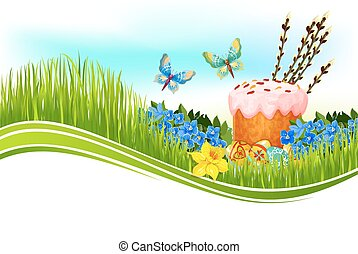 Easter cake and egg banner
