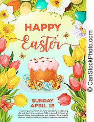 Easter cake and egg cartoon poster template