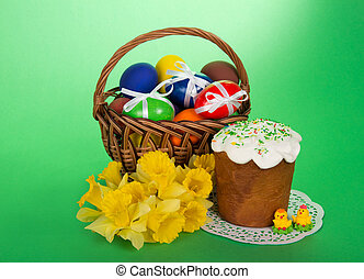 Easter cake and eggs - Yellow narcissuses, Easter cake,...