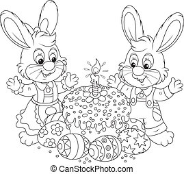 Easter cake and painted eggs - Bunnies celebrating Easter ...